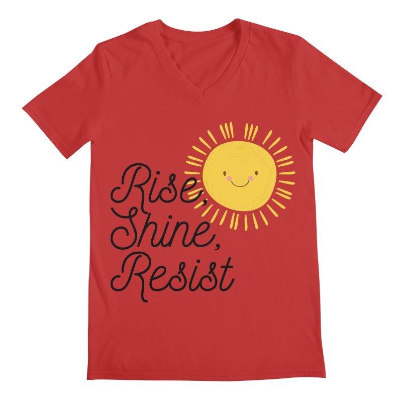 Rise Shine Resist Men's V-Neck by BadNewsB