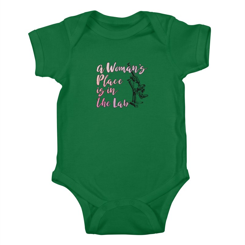 A Woman's Place is in the Lab Kids Baby Bodysuit by BadNewsB