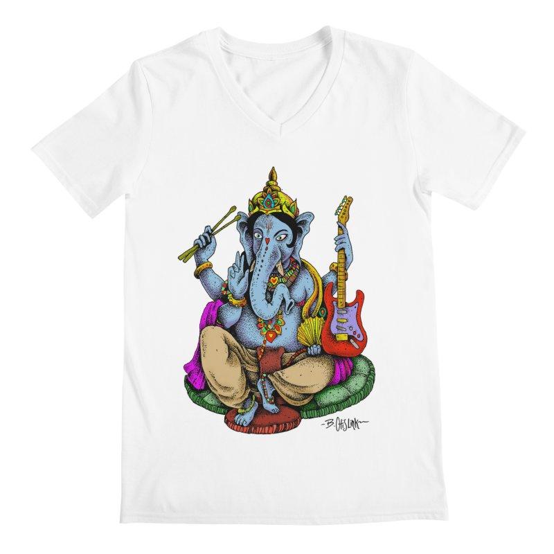 Ganesha - God of beginnings Men's V-Neck by Bad Otis Link's Artist Shop