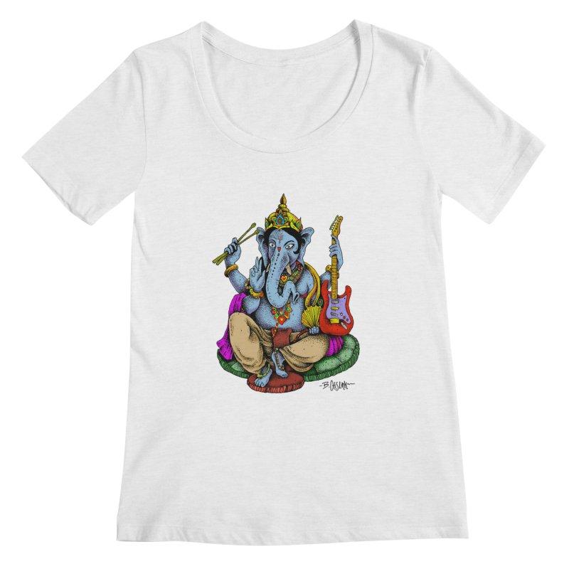 Ganesha - God of beginnings Women's Regular Scoop Neck by Bad Otis Link's Artist Shop