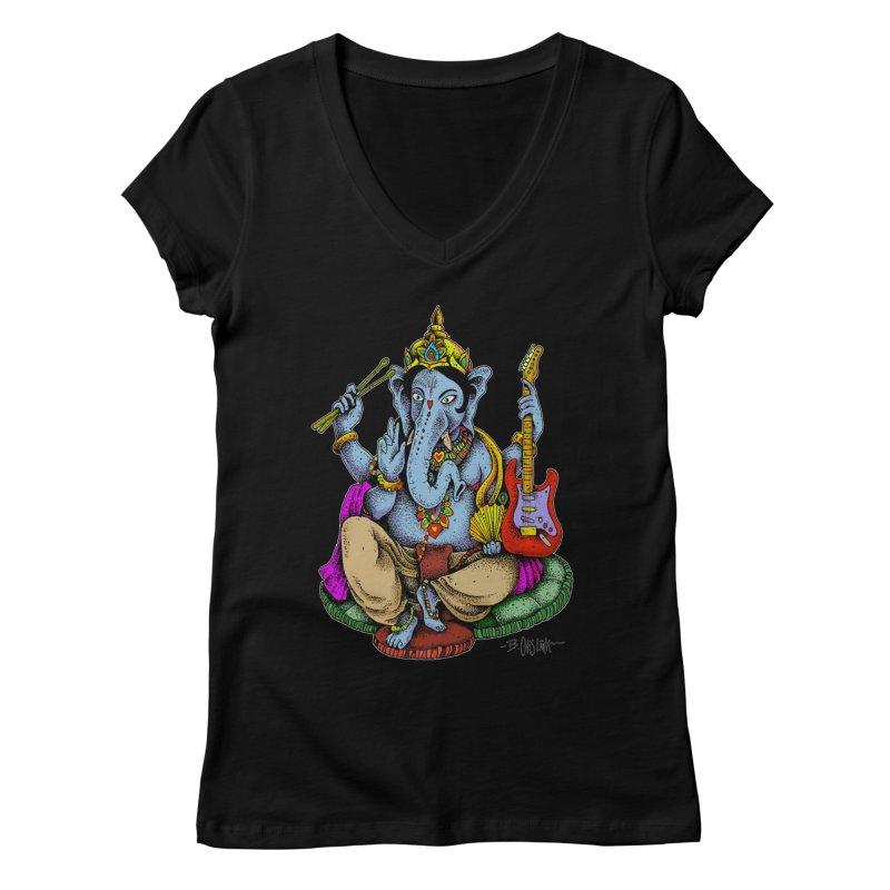 Ganesha - God of beginnings Women's V-Neck by Bad Otis Link's Artist Shop