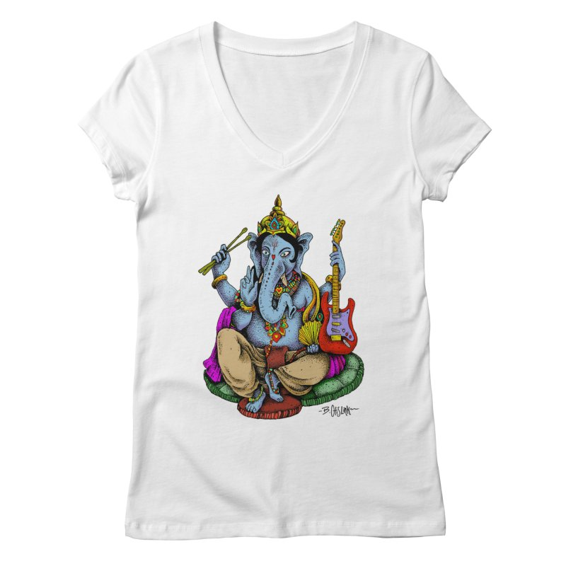 Ganesha - God of beginnings Women's Regular V-Neck by Bad Otis Link's Artist Shop
