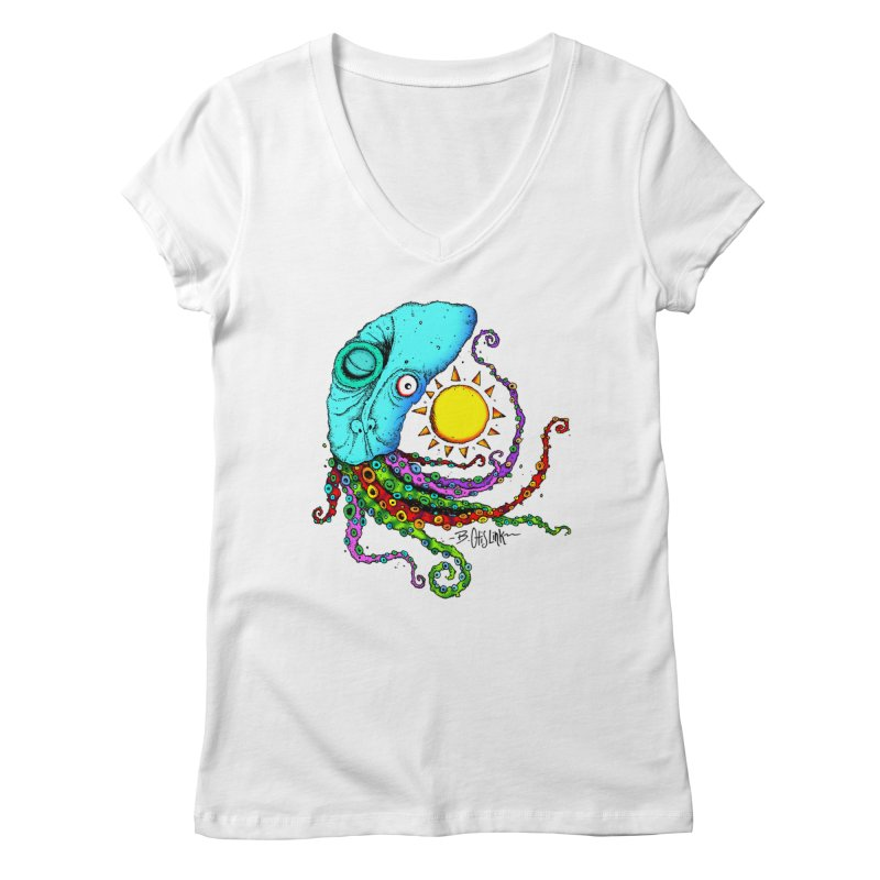 Jimmy The Squid Women's Regular V-Neck by Bad Otis Link's Artist Shop