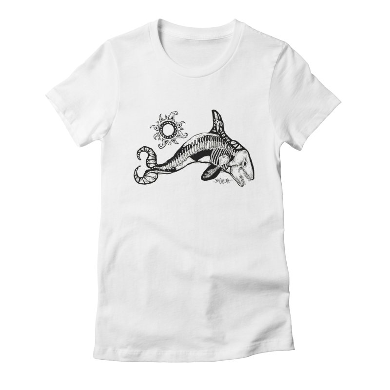 Ghost Orca Women's Fitted T-Shirt by Bad Otis Link's Artist Shop