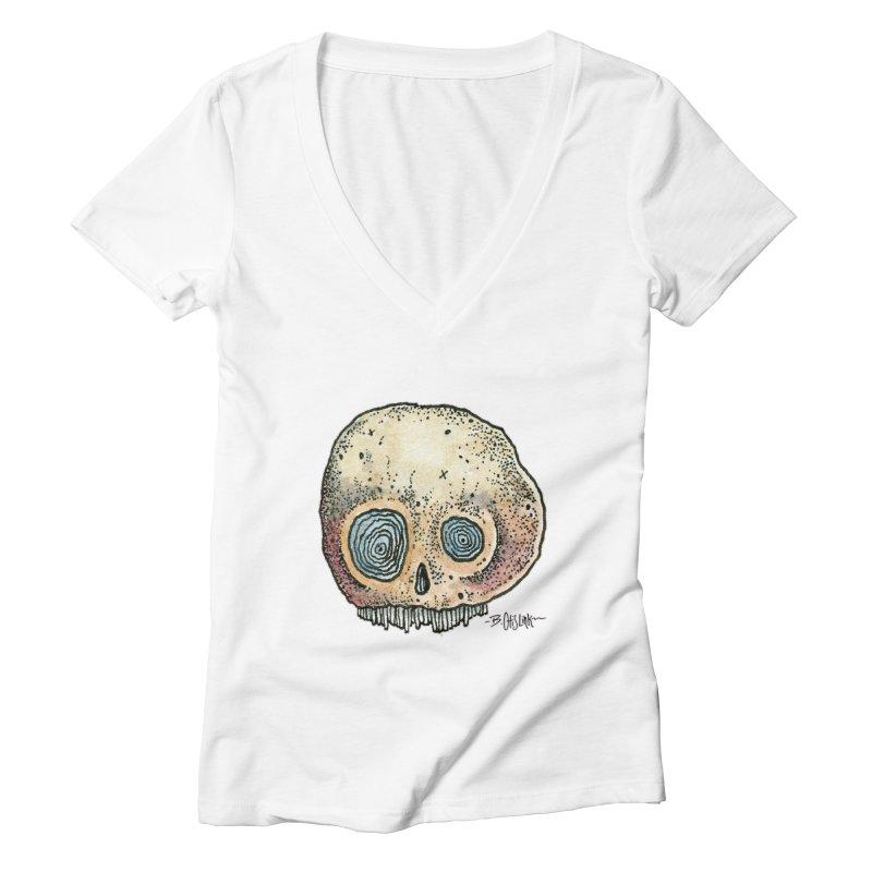 Skull Series 1 Women's Deep V-Neck V-Neck by Bad Otis Link's Artist Shop