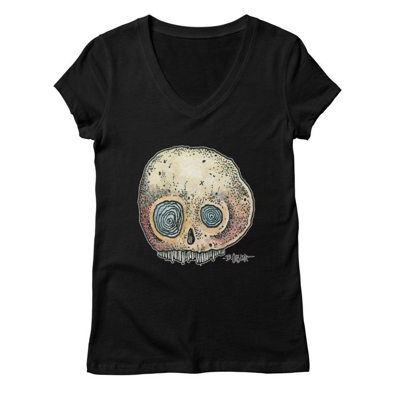 Skull Series 1 Women's Regular V-Neck by Bad Otis Link's Artist Shop