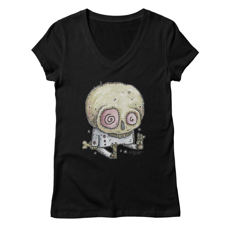 Skull Series 2 Women's V-Neck by Bad Otis Link's Artist Shop