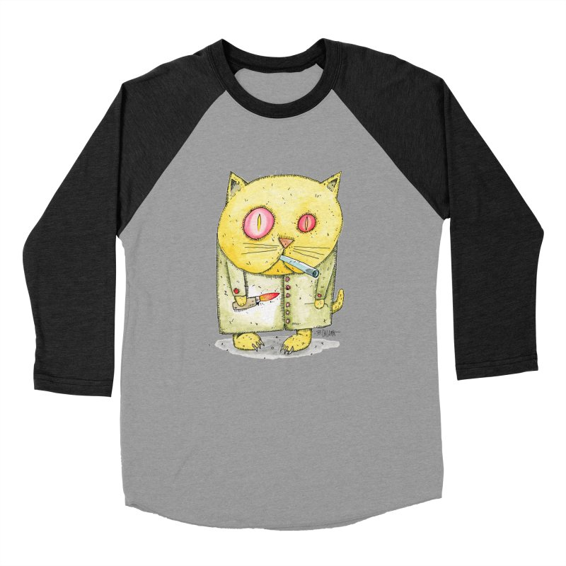 Crack Kitty Women's Baseball Triblend Longsleeve T-Shirt by Bad Otis Link's Artist Shop