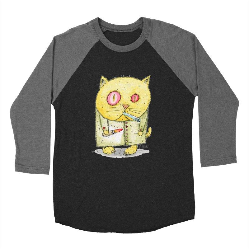 Crack Kitty Men's Baseball Triblend Longsleeve T-Shirt by Bad Otis Link's Artist Shop