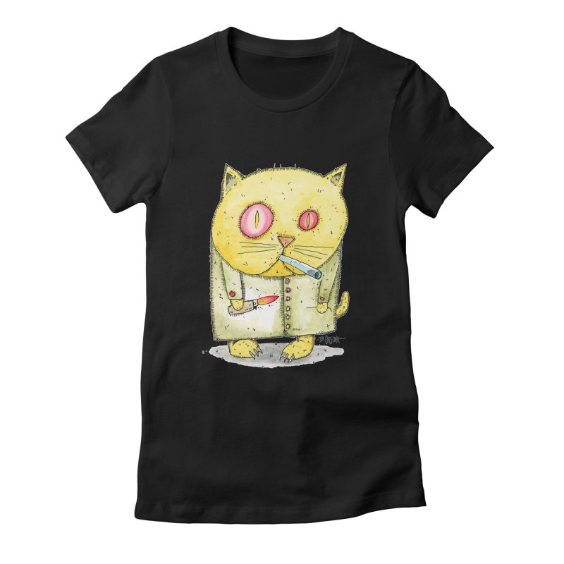 Crack Kitty Women's Fitted T-Shirt by Bad Otis Link's Artist Shop