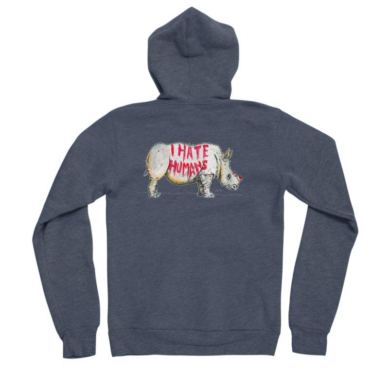 I Hate Humans - Rhino Men's Sponge Fleece Zip-Up Hoody by Bad Otis Link's Artist Shop