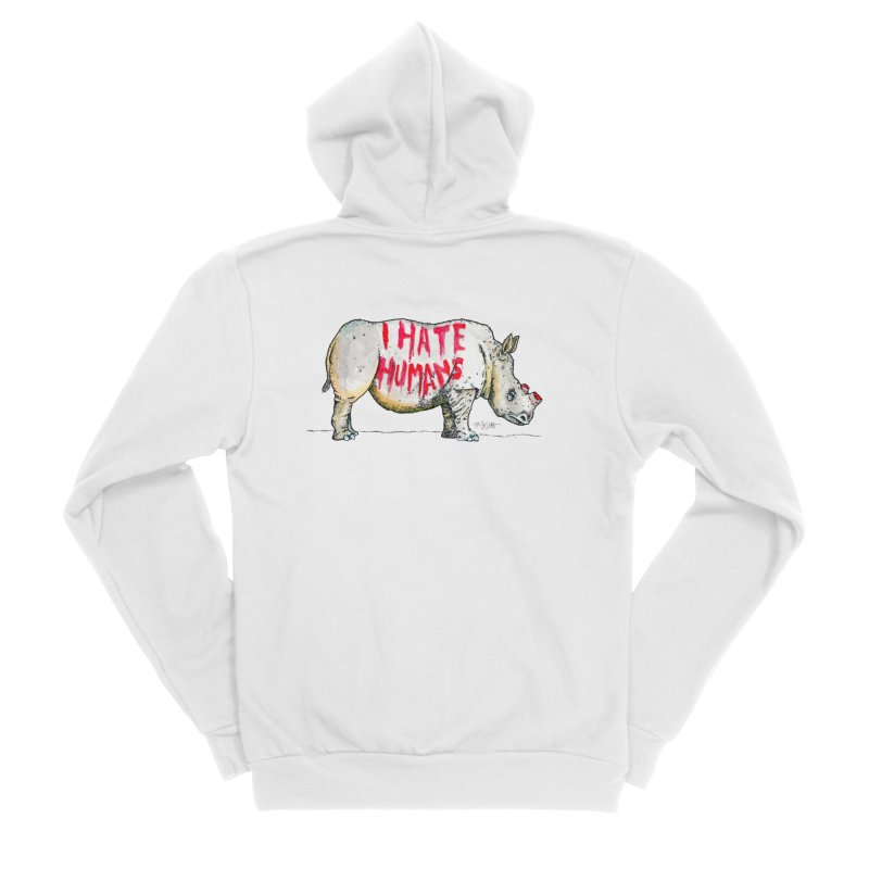 I Hate Humans - Rhino Women's Sponge Fleece Zip-Up Hoody by Bad Otis Link's Artist Shop