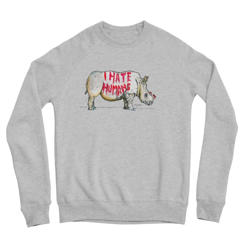 I Hate Humans - Rhino Women's Sponge Fleece Sweatshirt by Bad Otis Link's Artist Shop