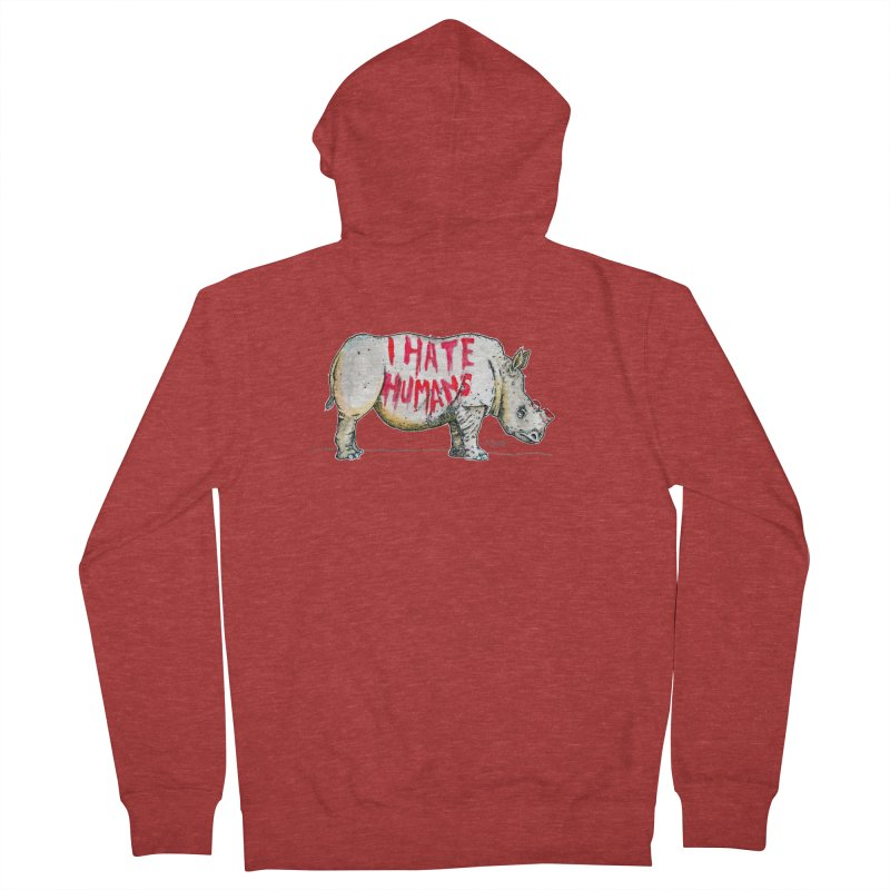 I Hate Humans - Rhino Men's French Terry Zip-Up Hoody by Bad Otis Link's Artist Shop