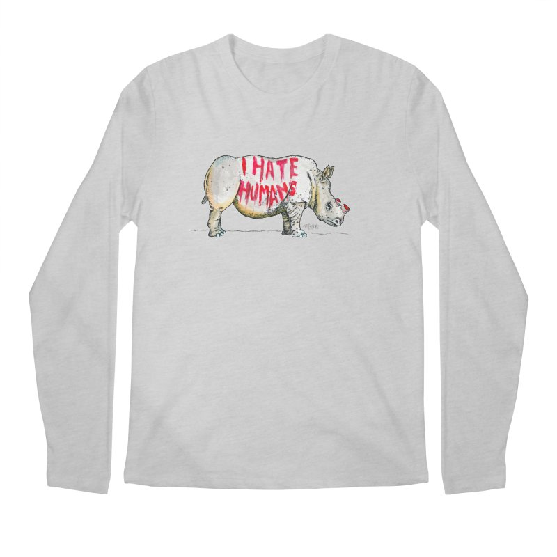 I Hate Humans - Rhino Men's Regular Longsleeve T-Shirt by Bad Otis Link's Artist Shop