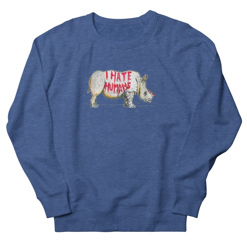 I Hate Humans - Rhino Men's French Terry Sweatshirt by Bad Otis Link's Artist Shop