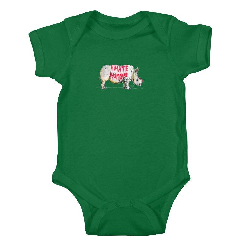 I Hate Humans - Rhino Kids Baby Bodysuit by Bad Otis Link's Artist Shop