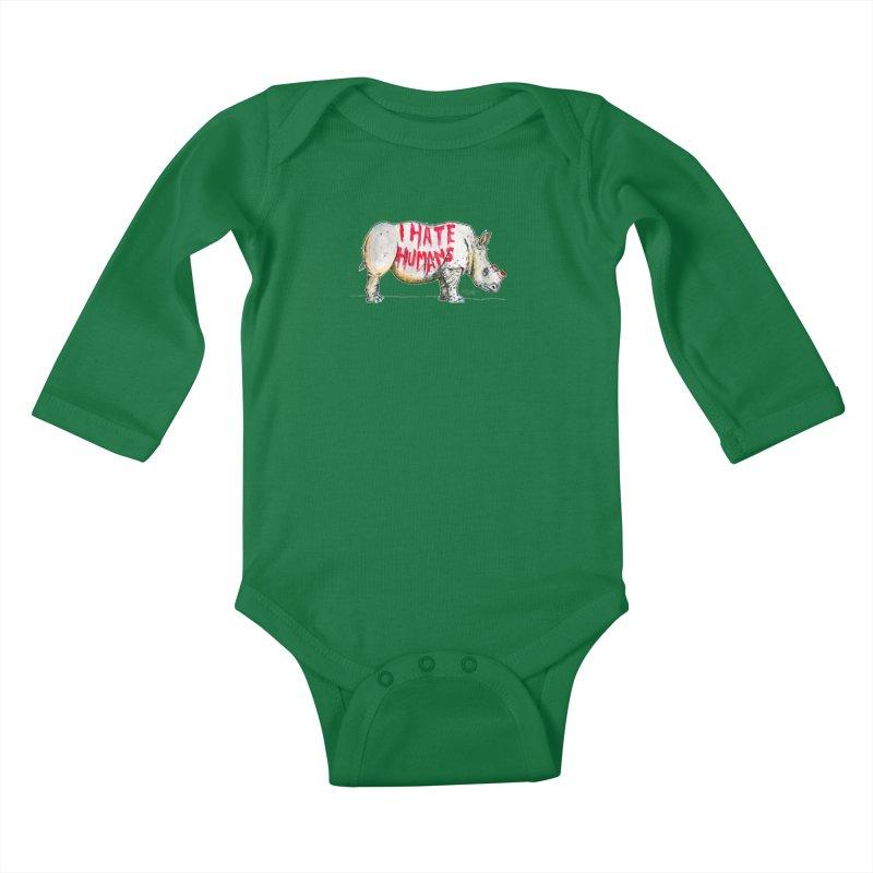 I Hate Humans - Rhino Kids Baby Longsleeve Bodysuit by Bad Otis Link's Artist Shop