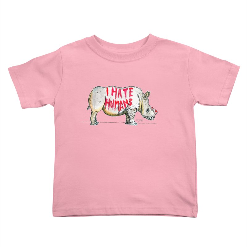 I Hate Humans - Rhino Kids Toddler T-Shirt by Bad Otis Link's Artist Shop