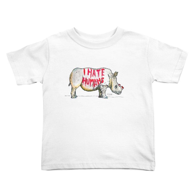 I Hate Humans - Rhino Kids Toddler T-Shirt by Bad Otis Link's Artist Shop