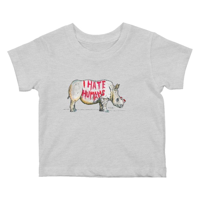 I Hate Humans - Rhino Kids Baby T-Shirt by Bad Otis Link's Artist Shop
