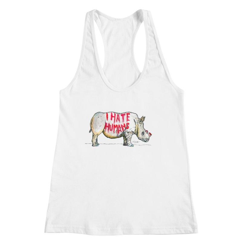 I Hate Humans - Rhino Women's Racerback Tank by Bad Otis Link's Artist Shop