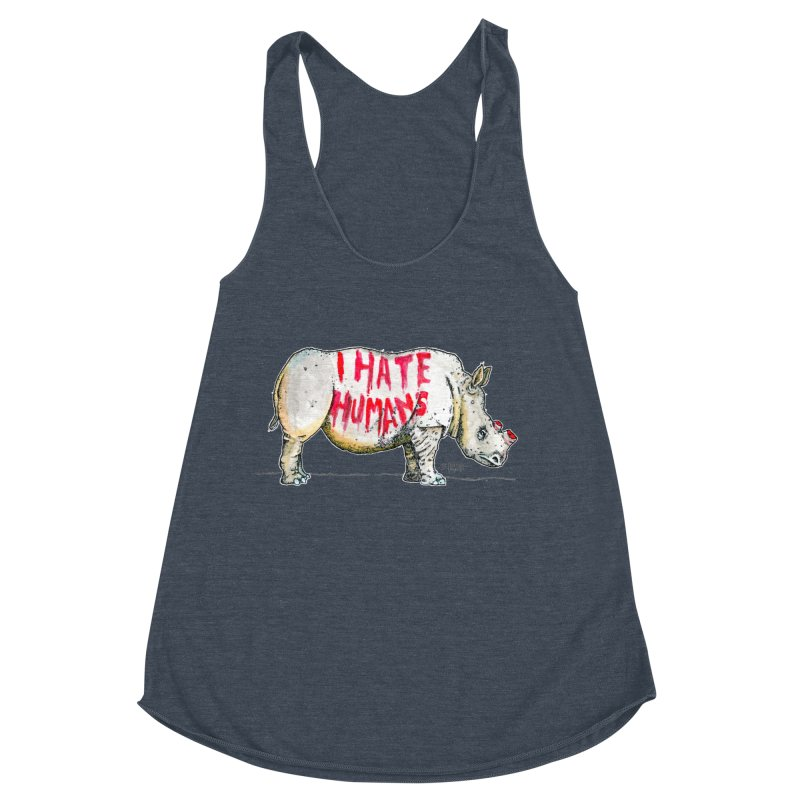I Hate Humans - Rhino Women's Racerback Triblend Tank by Bad Otis Link's Artist Shop