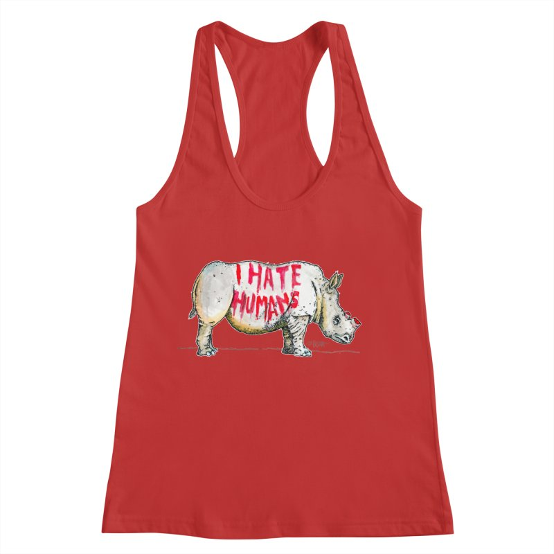 I Hate Humans - Rhino Women's Racerback Tank by Bad Otis Link's Artist Shop