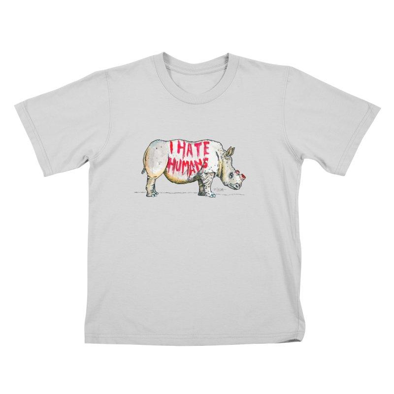 I Hate Humans - Rhino Kids T-Shirt by Bad Otis Link's Artist Shop