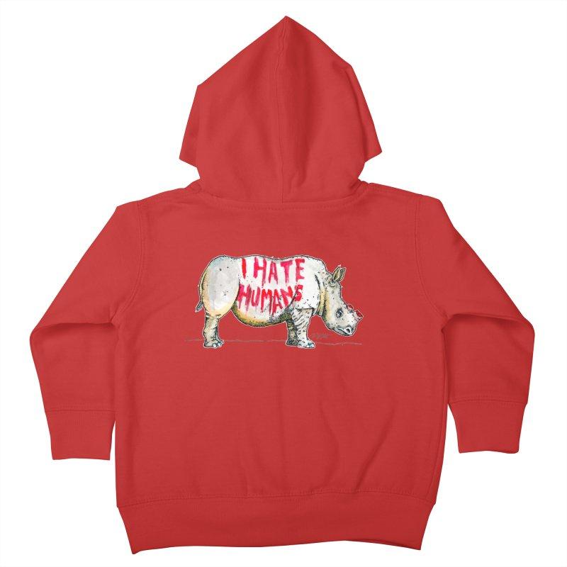 I Hate Humans - Rhino Kids Toddler Zip-Up Hoody by Bad Otis Link's Artist Shop
