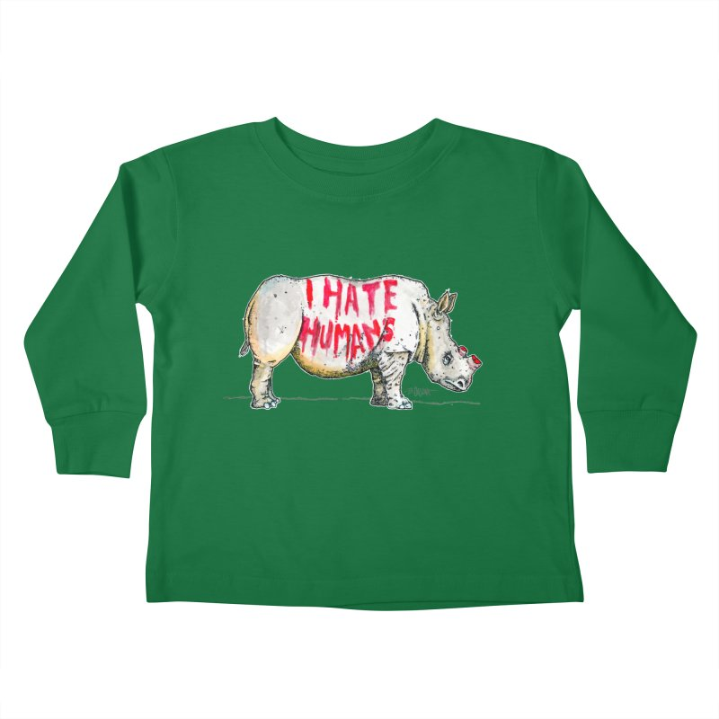 I Hate Humans - Rhino Kids Toddler Longsleeve T-Shirt by Bad Otis Link's Artist Shop