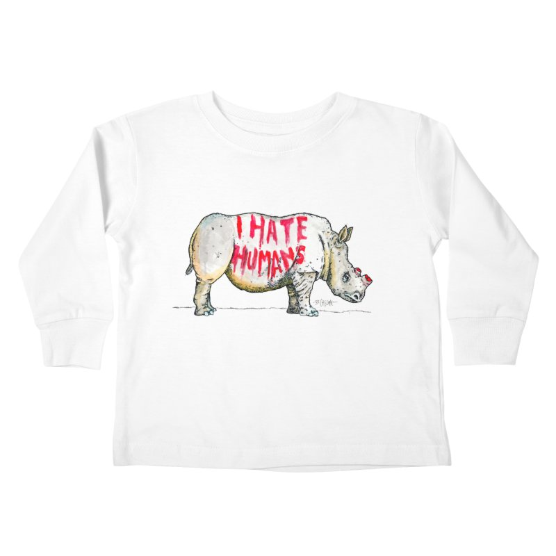 I Hate Humans - Rhino Kids Toddler Longsleeve T-Shirt by Bad Otis Link's Artist Shop