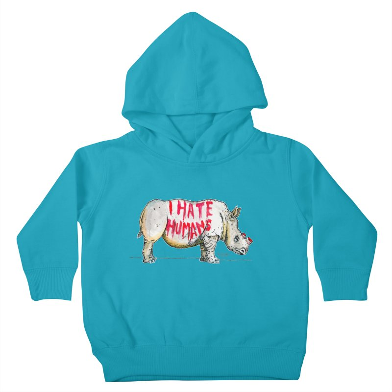 I Hate Humans - Rhino Kids Toddler Pullover Hoody by Bad Otis Link's Artist Shop