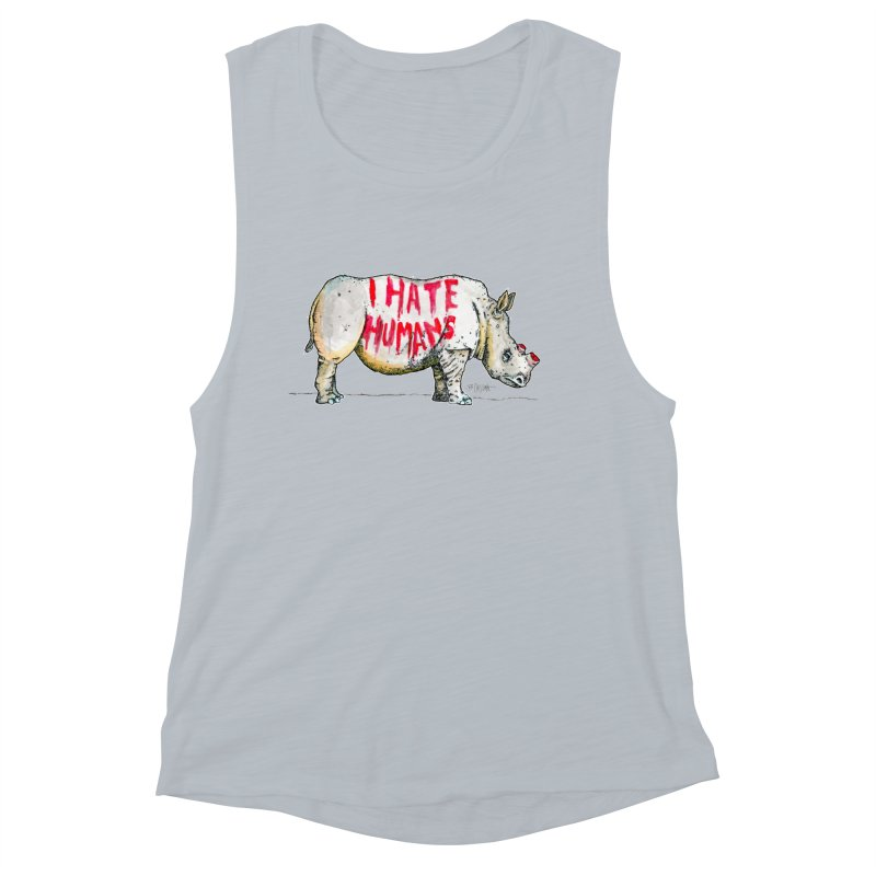 I Hate Humans - Rhino Women's Muscle Tank by Bad Otis Link's Artist Shop