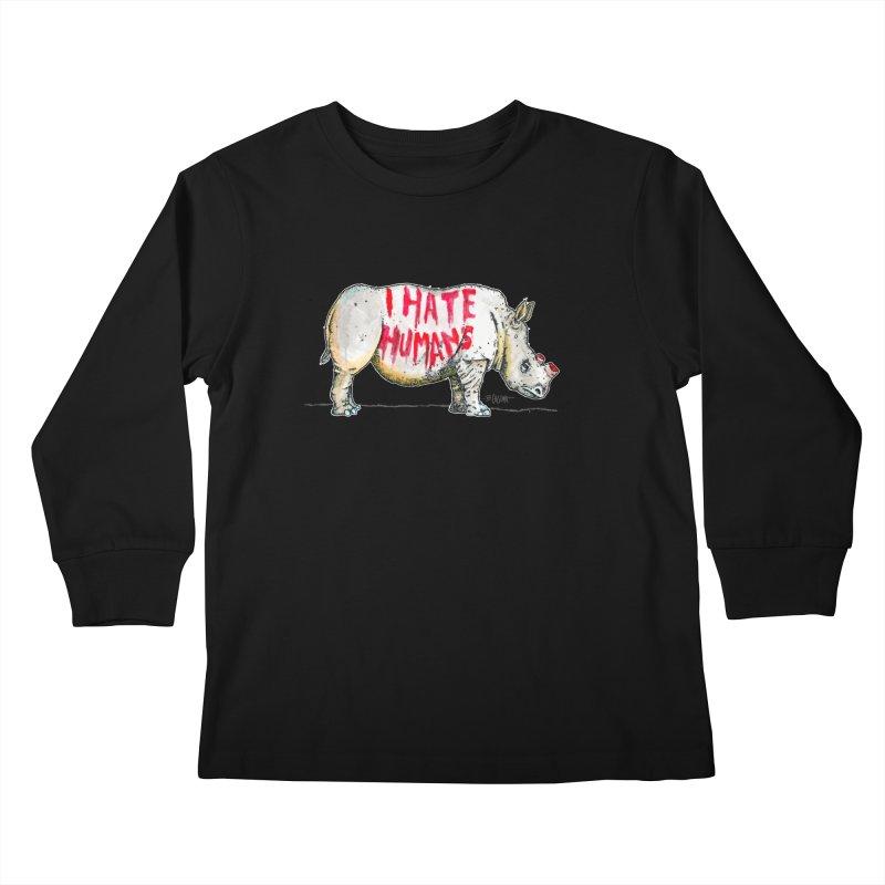 I Hate Humans - Rhino Kids Longsleeve T-Shirt by Bad Otis Link's Artist Shop
