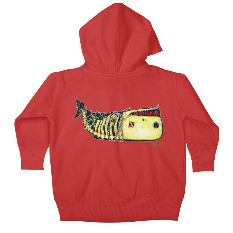 I Hate Humans - Whale Kids Baby Zip-Up Hoody by Bad Otis Link's Artist Shop