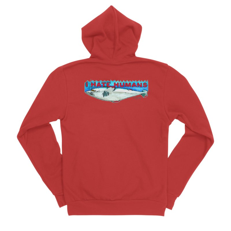I Hate Humans Shark Fin Women's Sponge Fleece Zip-Up Hoody by Bad Otis Link's Artist Shop