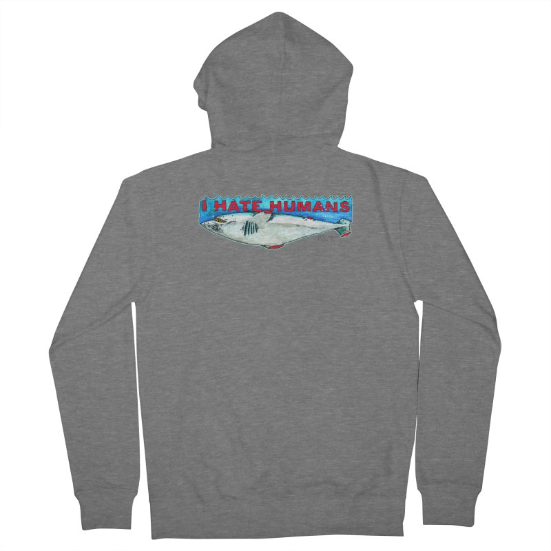 I Hate Humans Shark Fin Women's French Terry Zip-Up Hoody by Bad Otis Link's Artist Shop