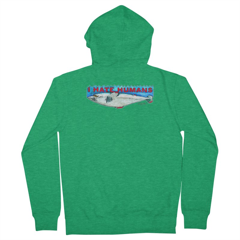 I Hate Humans Shark Fin Men's French Terry Zip-Up Hoody by Bad Otis Link's Artist Shop
