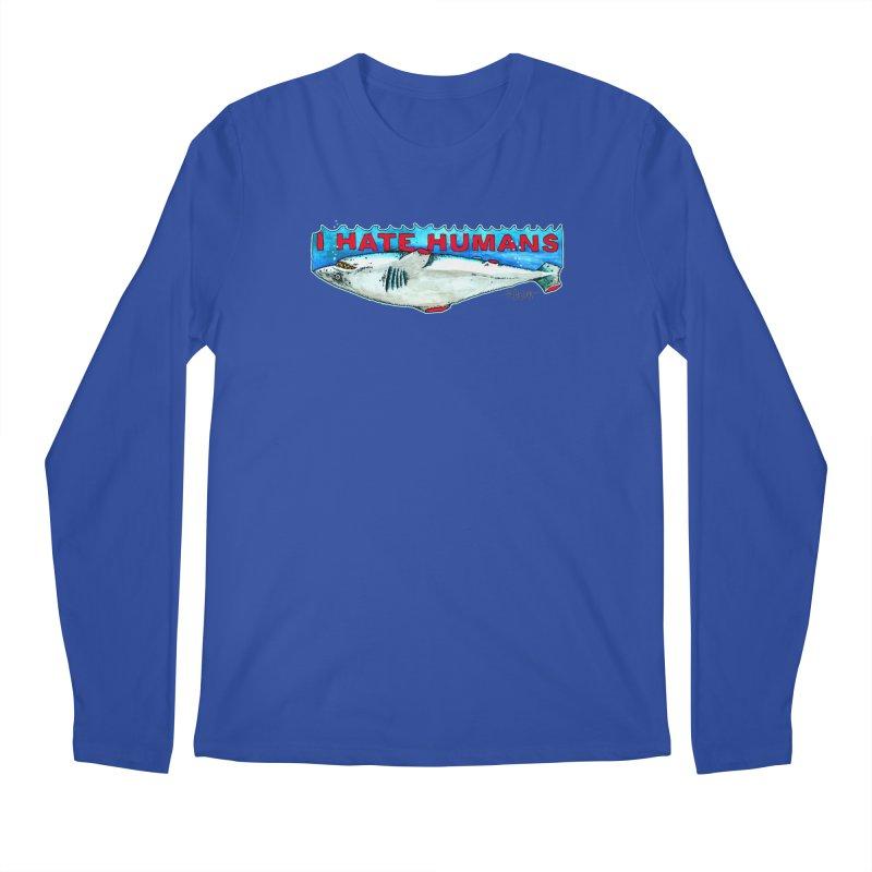 I Hate Humans Shark Fin Men's Regular Longsleeve T-Shirt by Bad Otis Link's Artist Shop