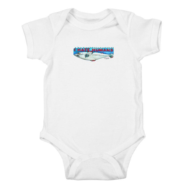 I Hate Humans Shark Fin Kids Baby Bodysuit by Bad Otis Link's Artist Shop