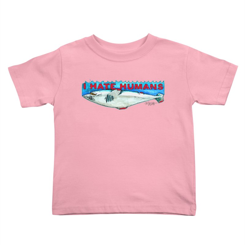 I Hate Humans Shark Fin Kids Toddler T-Shirt by Bad Otis Link's Artist Shop