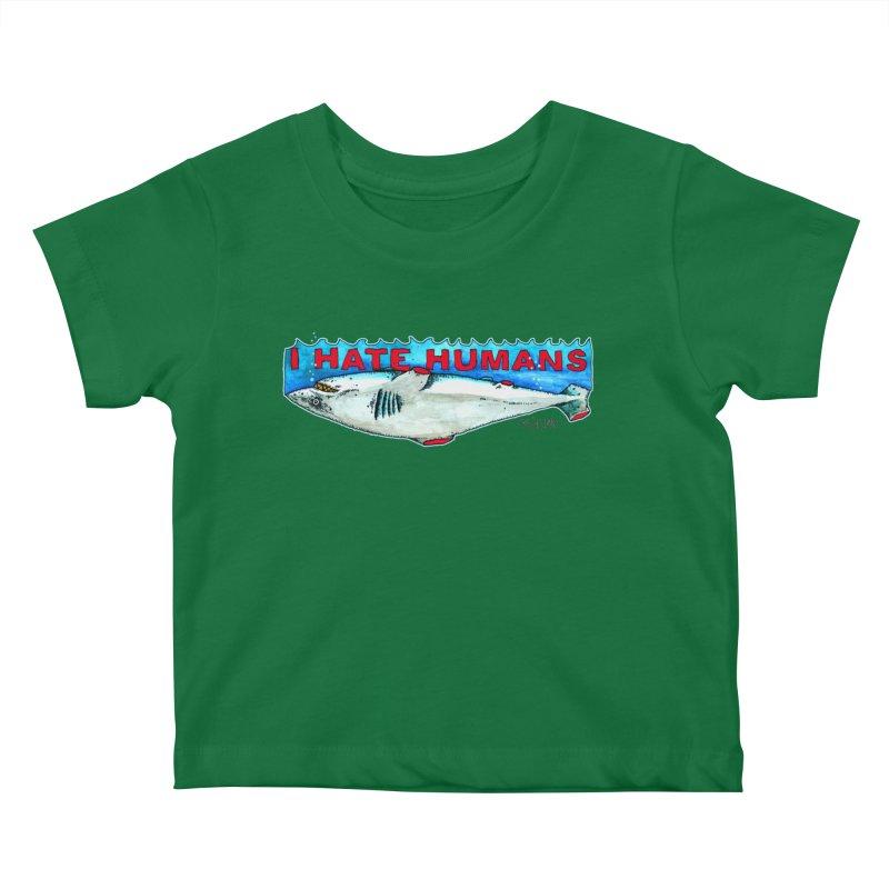 I Hate Humans Shark Fin Kids Baby T-Shirt by Bad Otis Link's Artist Shop