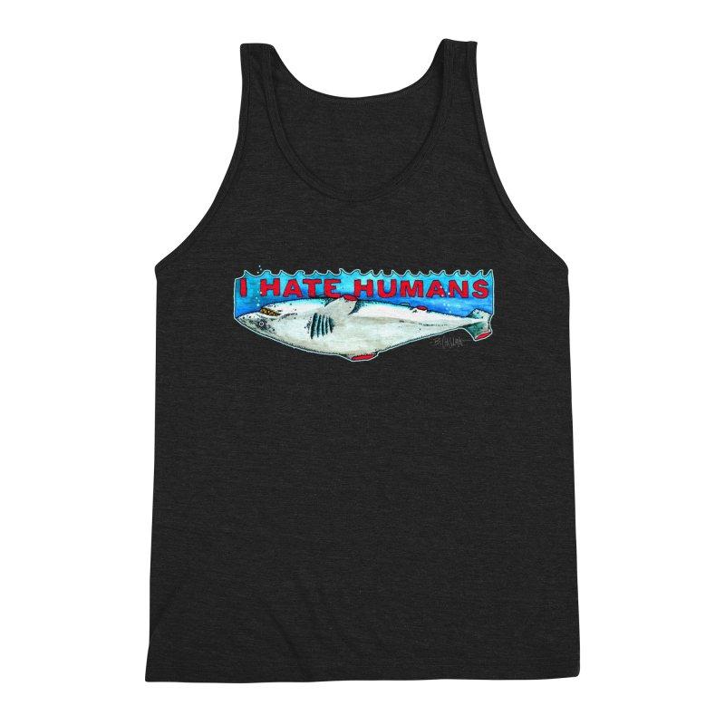 I Hate Humans Shark Fin Men's Triblend Tank by Bad Otis Link's Artist Shop