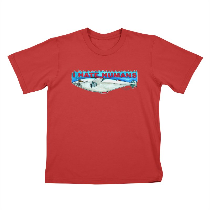I Hate Humans Shark Fin Kids T-Shirt by Bad Otis Link's Artist Shop