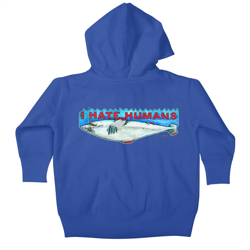 I Hate Humans Shark Fin Kids Baby Zip-Up Hoody by Bad Otis Link's Artist Shop