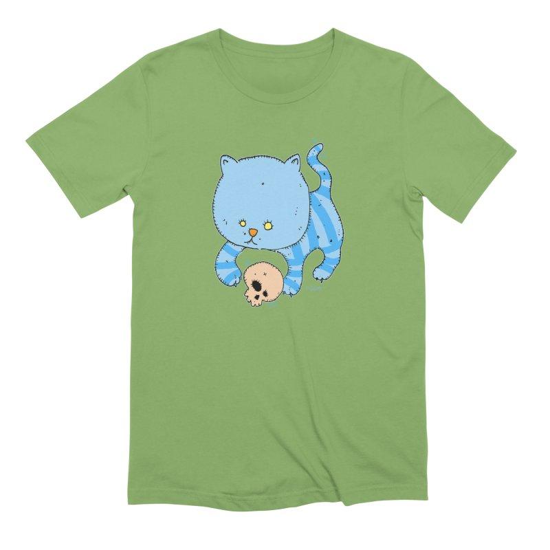 Cat and Skull Men's Extra Soft T-Shirt by Bad Otis Link's Artist Shop