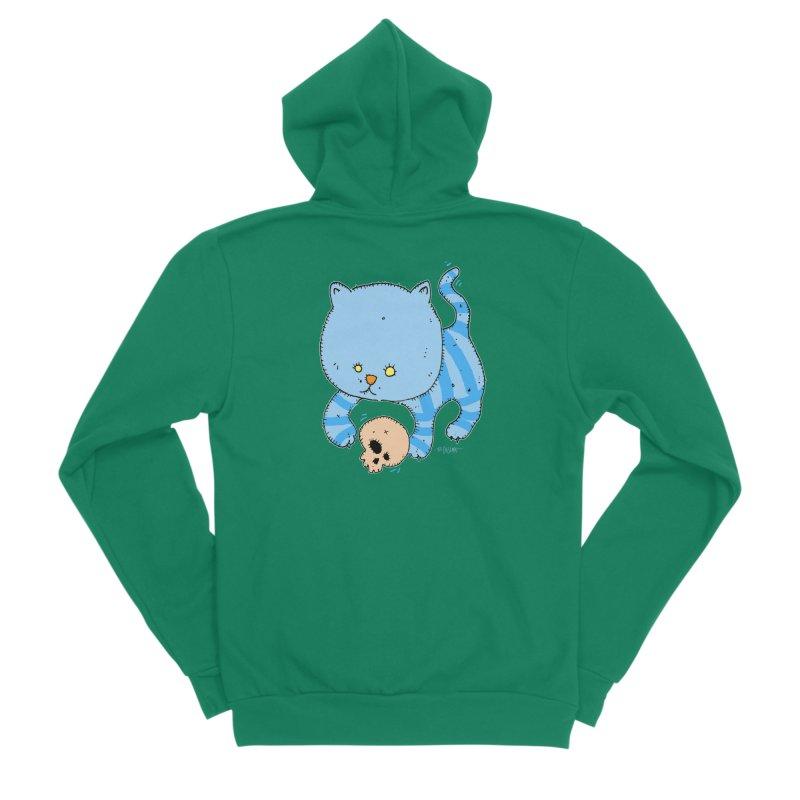 Cat and Skull Men's Sponge Fleece Zip-Up Hoody by Bad Otis Link's Artist Shop