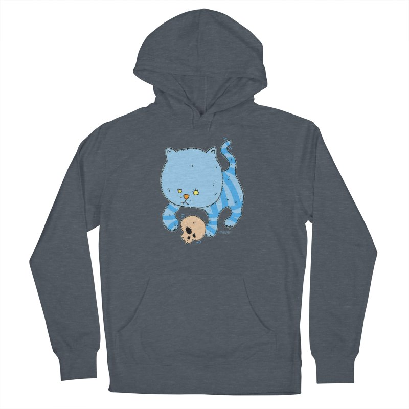 Cat and Skull Men's French Terry Pullover Hoody by Bad Otis Link's Artist Shop