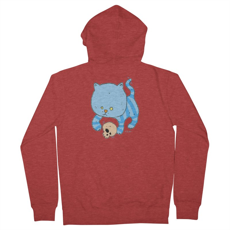 Cat and Skull Women's French Terry Zip-Up Hoody by Bad Otis Link's Artist Shop